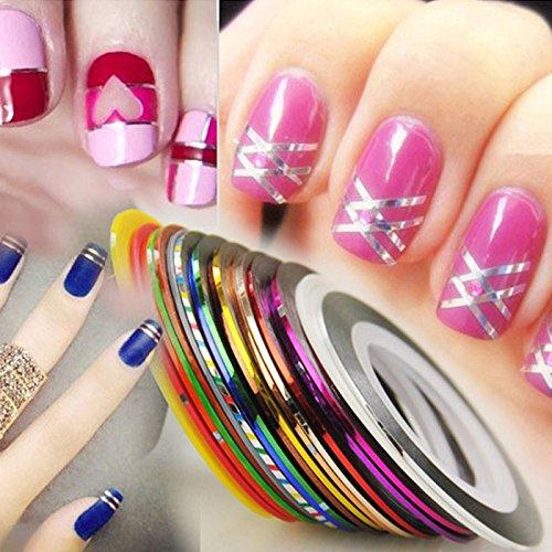LHWY 2016 New 30pcs Couleurs mélangées Rolls Striping Ruban Ligne Femme Nail Art Tips Sticker Décoration