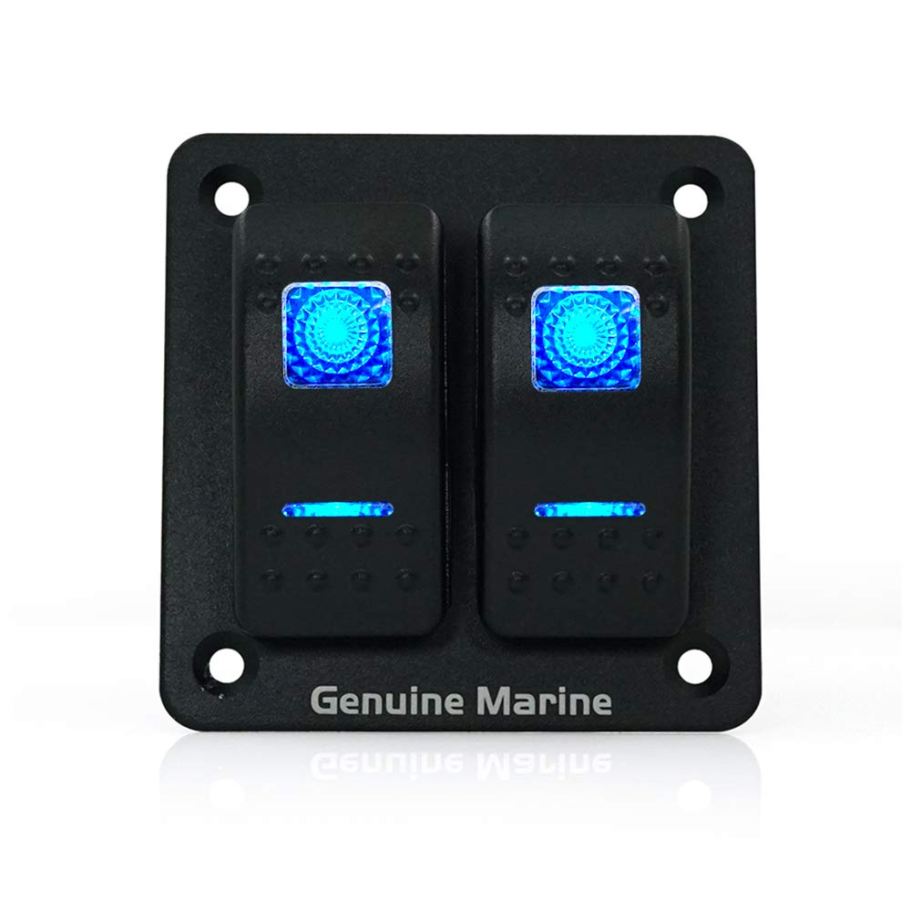 Genuine Marine 2 Gang Rocker Switch Panel DC 12V/24V LED Lighted Switches, 10-20 Amps for Boat, Marine, Car, Truck, RV, Van, Caravan by GenuineMarine