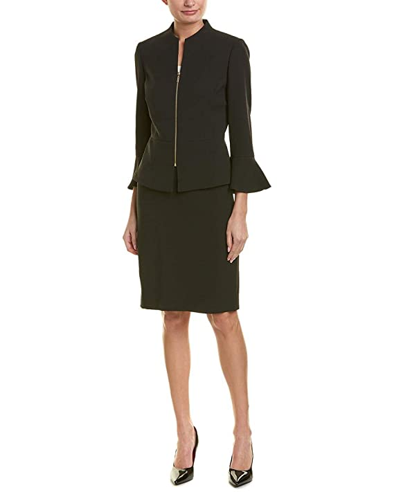 Tahari by ASL Womens Skirt Suit with Collarless Jacket