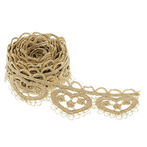 (D DOLITY 1 Yard Heart Embroidered Lace Trim Venice Fabric Sewing Craft Dress Applique - Gold)