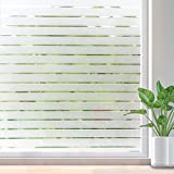 RABBITGOO Frosted Window Clings Privacy Etched Glass Window Film Window Frosting Film Non-adhesive Window Stickers, 44.5x150cm (Frosted Stripe,17.5'' x 59'')