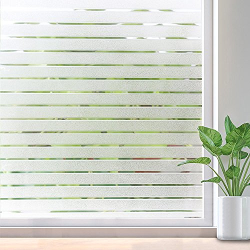RABBITGOO Frosted Window Clings Privacy Etched Glass Window Film Window Frosting Film Non-Adhesive Window Stickers, 44.5x150cm (Frosted Stripe,17.5'' x 59'') by RABBITGOO (Image #1)