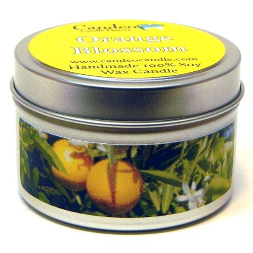 (Orange Blossom 4oz, Super Scented Soy Candle Tin)