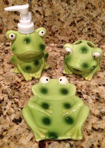 Children's Frog/Toad Bathroom Decor Accessory Set - 3 Piece Bundle Includes: Lotion Dispenser, Soap Dish & Toothbrush Holder! Frog Bathroom Decor