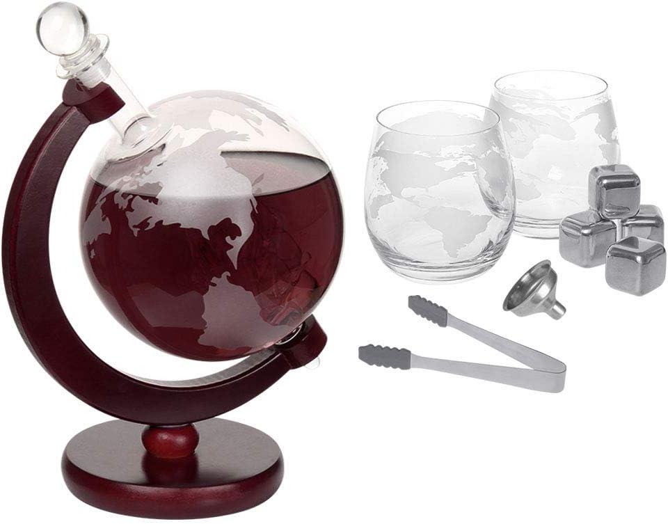 Nandae Ensemble carafe /à whisky en forme de globe et davion avec verre pour d/écoration de bar 1000ML Verre Carafe /à d/écanter capacit/é 1500 ml liqueur