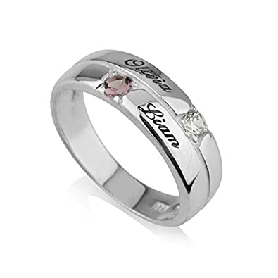 19fd889afba7a Amazon.com: Mothers Ring Engraved simulated Birthstone Ring 2 Stones ...