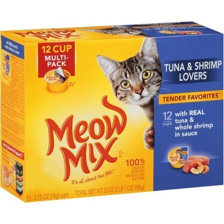 Meow Mix Tuna & Shrimp Lovers Tender Favorites 1-Pack with 12 Cups With Real Tuna & Whole Shrimp In Sauce (1- PACK 12 CUPS