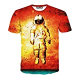 Chiclook Cool Unisex 3D Printed Astronaut Casual Hip Hop T Shirts Short Sleeve Top