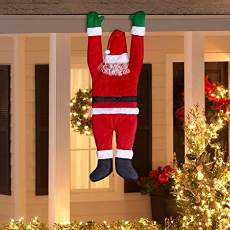 366fa8f8a3bb7 Amazon.com   Home Accents Holiday Gemmy Outdoor Decor Santa Hanging from  Gutter   Garden   Outdoor