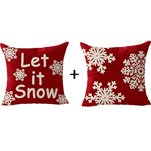FELENIW 2 Pieces, Happy Winter Snowflake Let It Snow Merry Christmas Blessing Gift Throw Pillow Cover Cushion Case Cotton Linen Material Decorative 18x18 inches