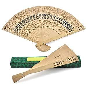 10X Wooden Carved Geisha Folding Sandalwood Fan Dancing Fan S-3454X10