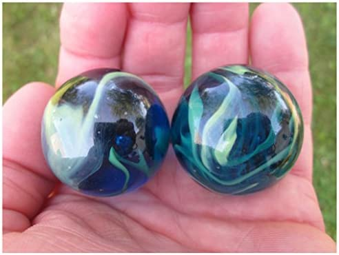 Amazon 2 BOULDERS 35mm SEA TURTLE Marbles Glass Ball Clear Blue Green LARGE HUGE Swirl Toys Games