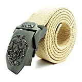Harmily Men and women thicken Canvas Strong Automatic Dragon Buckle Military Belt Casual Waistband