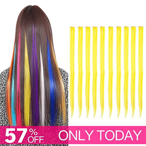 Carina Colored Clip in Hair Extensions 10pcs/lot 22 inch Straight Fashion Synthetic Hairpieces for Party Highlights Multi-Color (Yellow)