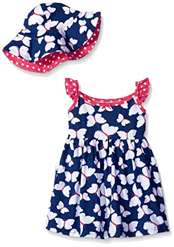 Gerber Little Girls' Toddler Two-Piece Sundress and Hat Set, Butterfly, ()