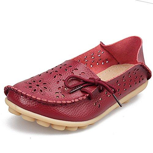 Miagolio Donna Scarpe Stringate Basse Mocassino Flats In Pelle Morbide Casuale Di Vari Colori Tglia 34-43 Borgogna