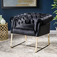 Mika Modern Tufted Black Velvet Club Chair with Gold Finished Stainless Steel Frame