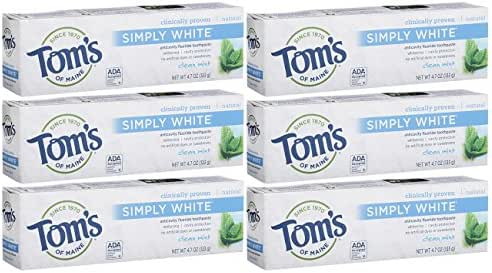 Tom's of Maine Simply White Natural Toothpaste, Whitening Toothpaste, Natural Toothpaste, Clean Mint, 4.7 Ounce, Pack of 6