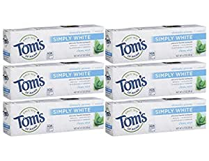Tom's of Maine Simply White Natural Toothpaste, Clean Mint, 4.7 Ounce, Pack of 6