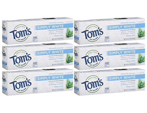- Tom's of Maine Simply White Natural Toothpaste, Clean Mint, 4.7 Ounce, Pack of 6