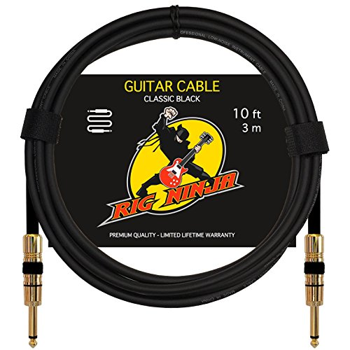 Rig Ninja Guitar Cable For Serious Musicians  Quality Electric Guitar Amp Cord For A Clean Tone To The Amplifier  Durable Instrument Cables  Great Signal Transmission  Low Noise Guitars   Bass Cords