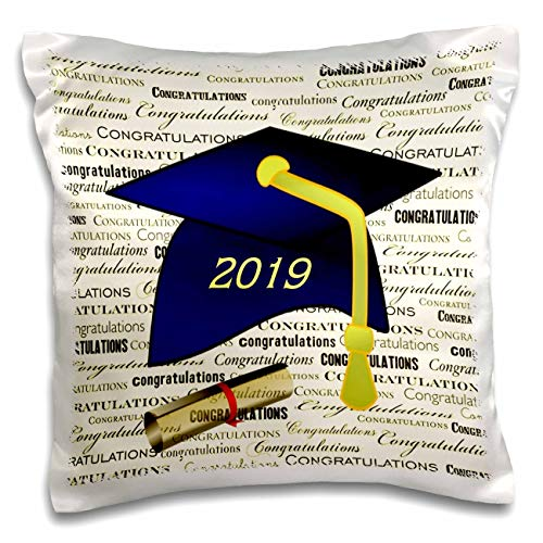 Graduation Pillow Personalized - 3dRose Lens Art by Florene - Graduation - Image of Blue 2019 Cap with Yellow Tassel and Diploma - 16x16 inch Pillow Case (pc_306827_1)