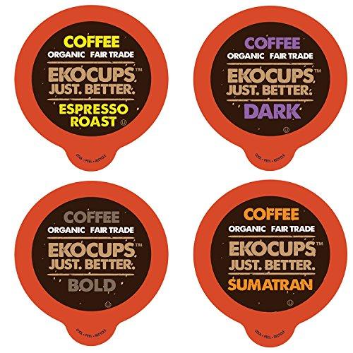 Ekocups Dark, Bold, Espresso Organic Coffee Sampler for Keurig Single Serve K-Cup Brewers, 80 Count