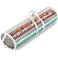 Whitmor Clear Gift Wrap Organizer, Zippered Storage for 25 Rolls
