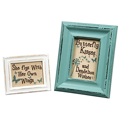 Inspirational Wholesale Plaques (Stitchery Kisses and Wishes Wooden Framed Inspirational Table Art Set of 2)