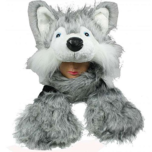(Silver Fever Plush Soft Animal Beanie Hat with Built-in Earmuffs, Scarf, Gloves (Ligh Grey Fluffy Huskey))
