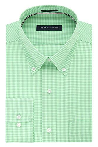 Tommy Hilfiger Men's Non Iron Regular Fit Gingham Buttondown Collar Dress Shirt, Sea Grass, 16