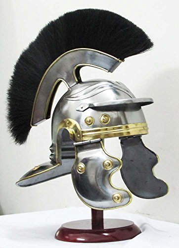 (THORINSTRUMENTS (with device) Roman Centurion Medieval Armor Helmet Roman Knight Officer centurion Helmet Replica With plume)