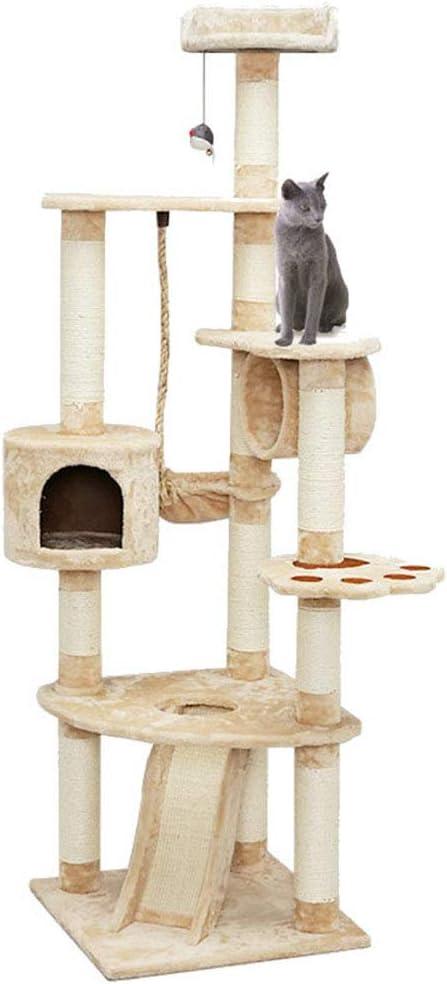XWDQ Múltiples Capas del árbol del Gato Grande Pasamanos 3 Apartamento Espacioso Tejido a Mano Plataforma para la Arena para Gatos Diseño cómodo y Espacioso 3 Columnas y Juguetes 180 cm Alto