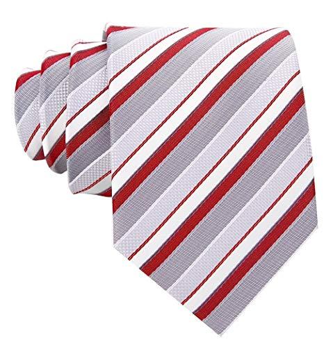 Striped Ties for Men - Woven Necktie - Burgundy -
