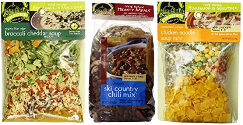Frontier Soups 100% Natural Homemade In Minutes Gluten-Free Soup Mix 3 Flavor Variety Bundle: (1) Michigan Ski Country Chili Mix, (1) Virginia Blue Ridge Cheddar Broccoli Soup Mix, and (1) Connecticut Cottage Chicken Noodle Soup Mix, 4.5-15 Oz. Ea. (Flavor Soup Mix)