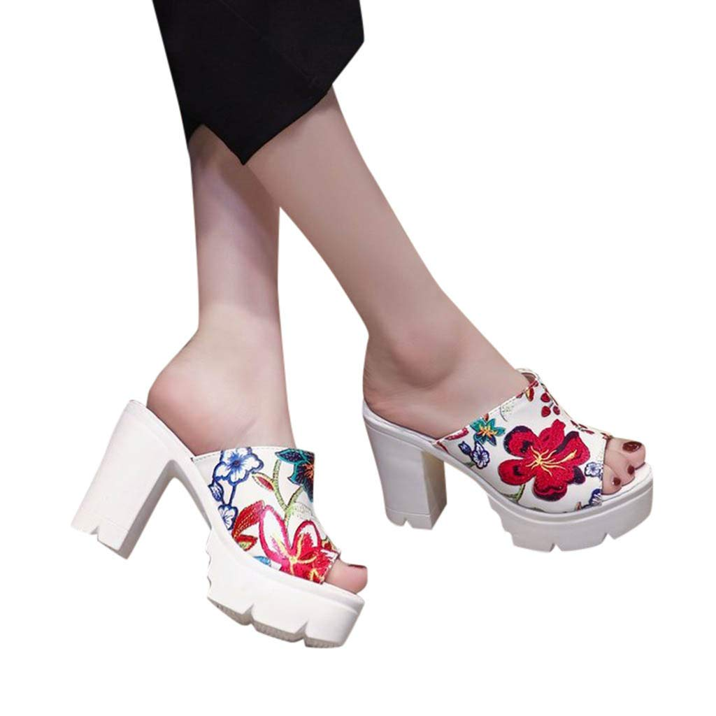 Veodhekai Women High Heel Wedge Sandals Flower Sponge Cake Slippers Muffin Shoes Wedge Heel Sandals Wedding Beach White