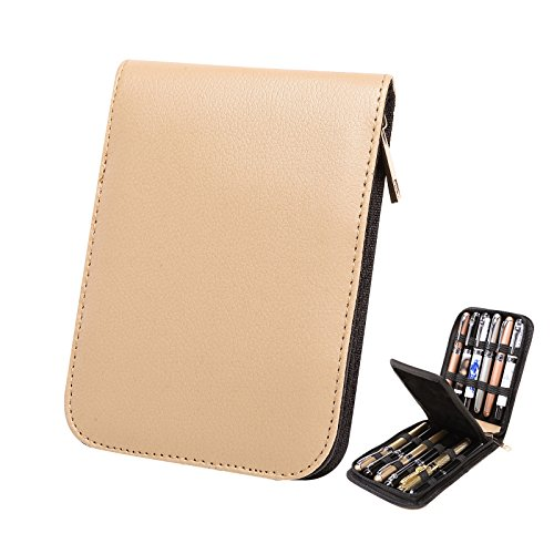 Topoomart Fountain Roller Ball Pen Case Holder PU Leather Bag for 12 Pens Beige