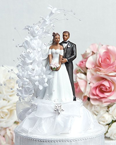 Wedding Collectibles Pearl Side Arch Classic African American Cake (Groom Carrying Bride Cake Topper)