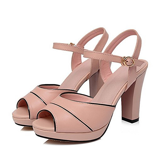 AllhqFashion Womens Round Peep toe High Heels Solid Cow Leather Sandals with Platform Pink oXIsXqZI