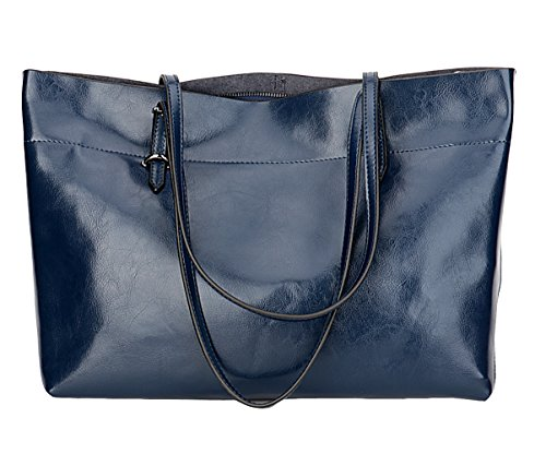 Blu Leather Bag - Covelin Women's Handbag Genuine Leather Tote Shoulder Bags Soft Hot Blue