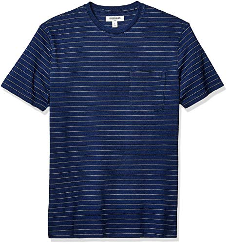 Goodthreads Men's Short-Sleeve Indigo Crewneck Pocket T-Shirt, Dark Narrow Stripe, Large
