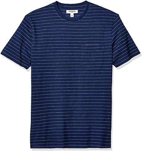 (Goodthreads Men's Short-Sleeve Indigo Crewneck Pocket T-Shirt, Dark Narrow Stripe, Large )