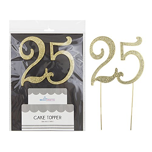 Mega Crafts Sparkly Gold Rhinestone Number 25 Cake Topper Decoration | Shimmering Gold Crystals & Durable Alloy Metal | For Birthdays, Anniversaries, Centerpieces, Party Favors, Celebrations & More - Rhinestone Cake Topper Number 25