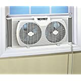 Likimen Dual Blade 9-Inch Twin Window Fan with Cover Portable White