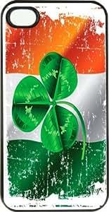 Rikki KnightTM Shamrock on irish Flag Grunge Rubber Black iPhone Case (with bumper) Cover for Apple iPhone 4 & 4s