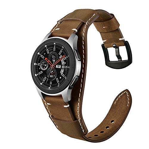 Genuine Leather Cuff Watch Band,20mm 22mm Cuff Leather Watch Band for Heart Rate smartwatch,Compatible with Galaxy Watch 42mm / 46mm,Fossil Q Explorist Gen 4,22mm Coffee (Watch Gear Cuff Leather)