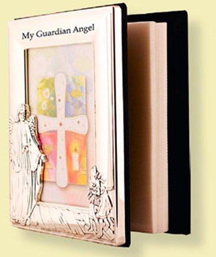 Guardian Angel Silver Photo Album & Lourdes Prayer Card (Religious Album Card)