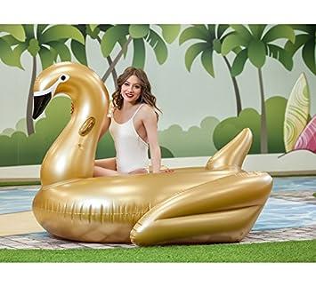 Creaciones Llopis Cisne Hinchable Dorado de 200 cm: Amazon ...