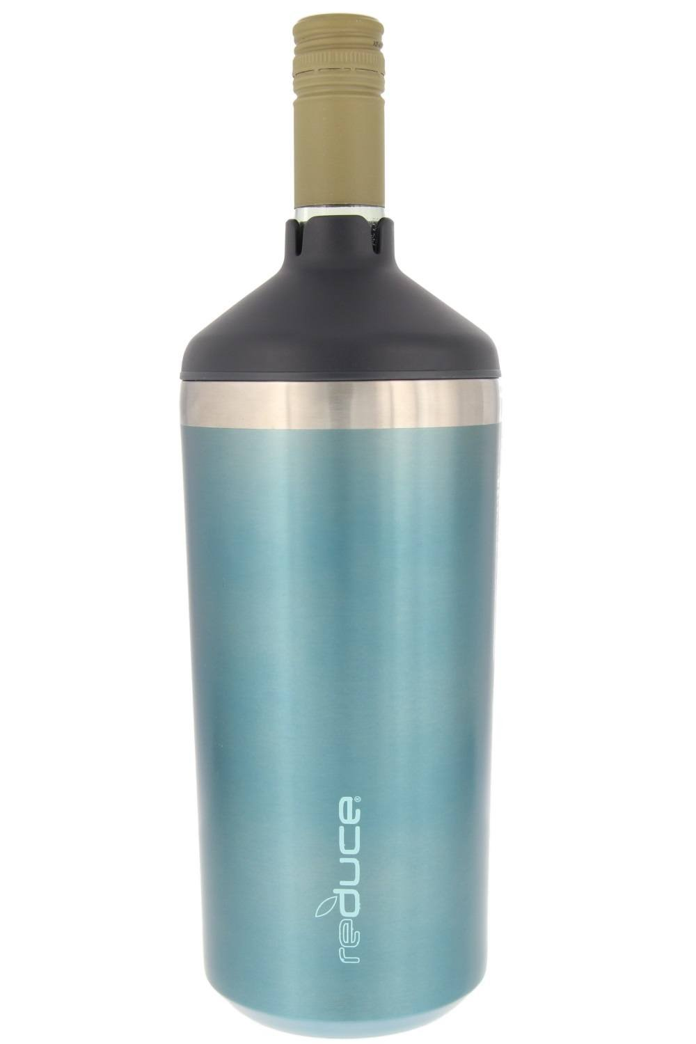 Portable Wine Bottle Cooler by REDUCE-Stainless Steel, Insulated Chiller to Keep Wine at the Perfect Temperature, No Ice Required-Ideal for Outdoor Summer Parties, Fits Most Wine Bottles – Ocean Blue