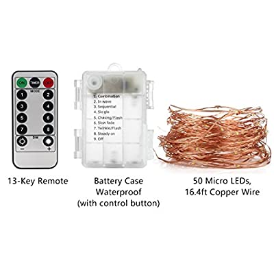 YIHONG 4 Set Fairy Lights Battery Operated Fairy String Lights Waterproof 8 Modes 50 LED String Lights 16.4FT Copper Wire Firefly Lights Remote Control (Warm White)
